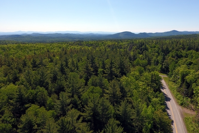 Looking South Along Seventy Lane Toward The Southern Adirondack Range
