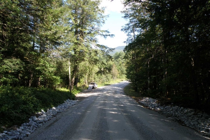 Sugar Hollow Road With Access Road To The Camp Near Truck