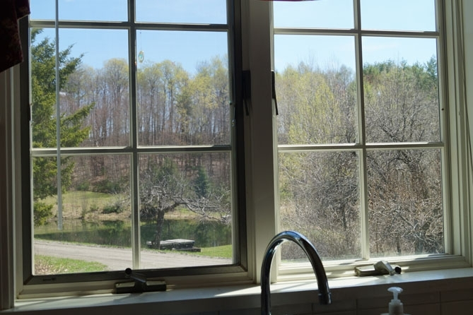 View Of The Pond From The Kitchen Sink